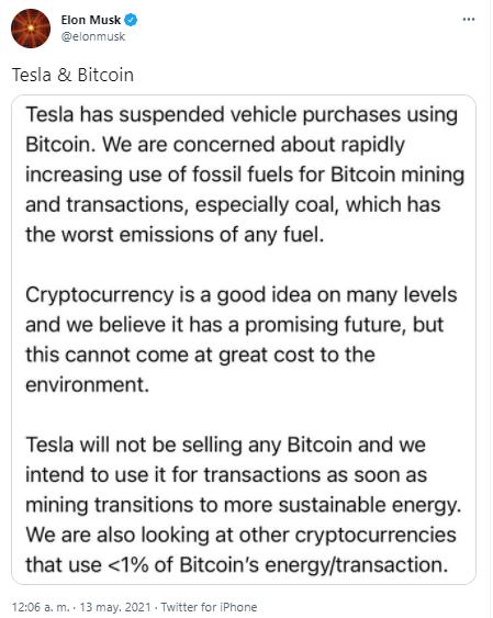 Elon Musk ataca Bitcoin